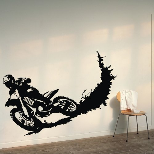 Colorfulhall Motorcycle Wall Decal Stickers Sport Decor Mural Vinyl Decal Sticker Diy Wall Graphics Art Boys Kids Nursery Room Home Decor, Black By front-289560