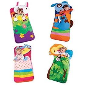 Appliqué Machine-Washable Animal Sleeping Bag with Plush Pillow in Cat