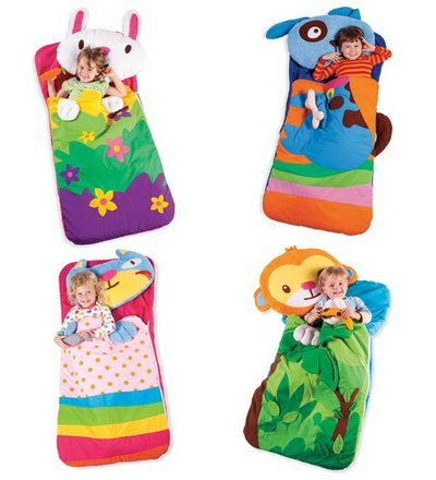 More image Appliqué Machine-Washable Animal Sleeping Bag with Plush Pillow, in Cat