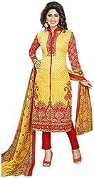 Maverick Collection Women's Yellow & Red Karachi Lawn Premium Suit (Un-Stitched)