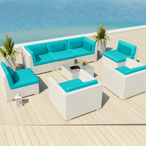 Uduka Outdoor Patio Furniture White Wicker Set Daly 8 Turquoise All Weather C