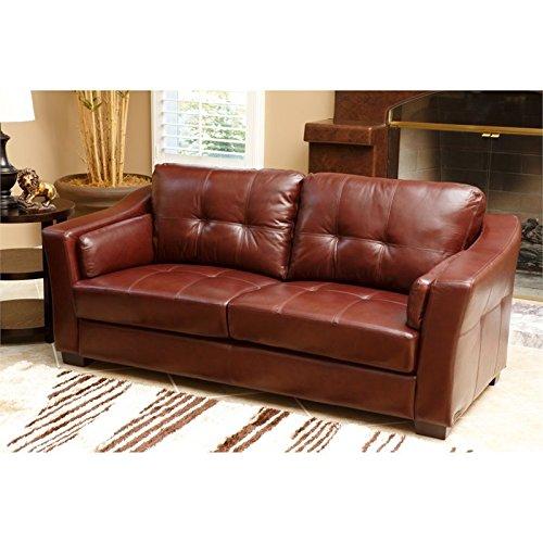 Abbyson Living Torrance 2 Piece Leather Sofa Set in Burgundy