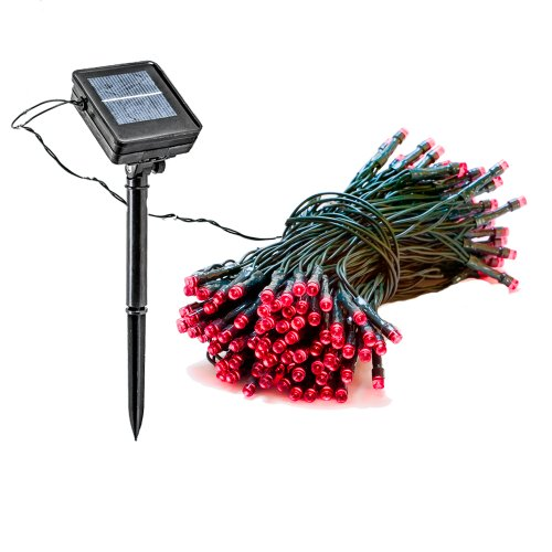 39 Foot Solar Powered Outdoor Christmas Holiday String Lights With 100 Red Led