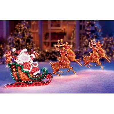 Christmas Outdoor Decor Holographic Santa, Sleigh