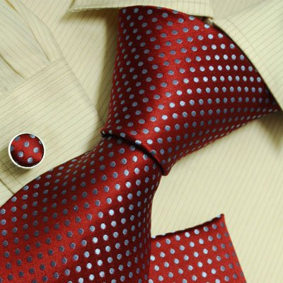 Blue dots designer mens ties Red birthday gifts husband discount silk neckties cuff links set H6035