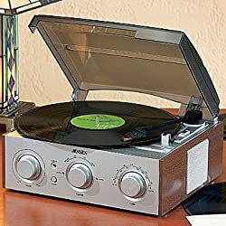 Classic 3-Speed Stereo Vinyl Record Turntable + AM/FM Receiver, 2 Speakers