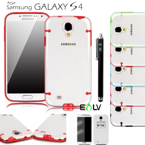 E Lv Slim Fit (Hard Clear Back+Tpu Colorful Bumper) Transparent Case Cover (With Inbuilt Dust Plug For Earphone Jack And Charging Port) For Samsung Galaxy S4 S Iv I9500 With 1 Clear Screen Protector, 1 Black Stylus And 1 E Lv Microfiber Digital Cleaner (S