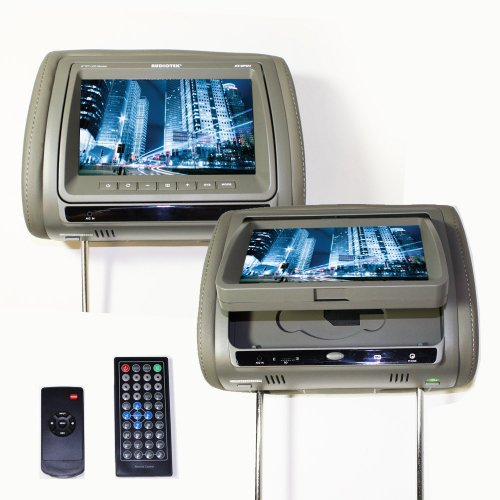 """Audiotek - At-9Pdv Grey - 9"""" Headrest Lcd Tft Monitor Screens With Built-In Dvd Player, Supports Vcd/Cd/Mp3/Mpeg-4/Divx/Sd/Usb In Grey"""