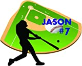 Color Baseball Player / Silhouette Custom Name AND NUMBER Wall Sticker (EMAIL US THE FIRST NAME AND NUMBER AFTER PURCHASE) - Removable and Repositionable Wall decal Wall mural