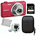 SONY Cyber-shot DSC-WX80/R Compact Zoom Digital Camera in Red + Sony 16GB Secure Digital Memory Card + Sony Camera Case + Lithium Ion Rechargeable Battery + Focus Lens Cleaning Kit