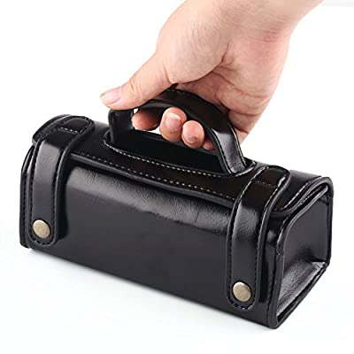 VERY100 Tote Style PU Leather Travel Toiletry Wash Bag Shaving Case Make-up Cosmetic Organizer (Black)