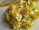 50 Yellow Mulberry Paper Rose Flower Wedding Craft dai 35 cm