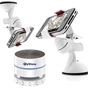 FlyStone® Clipper Car Mount Universal Vehicle Swivel Holder For Samsung Galaxy Note 2 N7100 / Samsung Galaxy S3 I9300 / Samsung Galaxy S4 I9500 / Samsung Galaxy Note 3 N9000 N9002 N9005 / Other Smartphones + KA901 Portable Wireless Bluetooth Speaker with