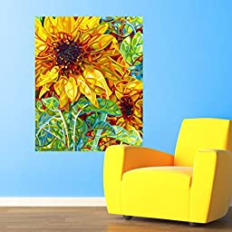 My Wonderful Walls Abstract Sunflower Wall Decal Summer in the Garden by Mandy Budan (XL)