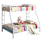 Metal Twin Over Full Double Bunk Bed, White