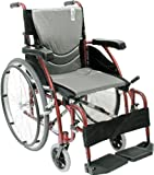 Karman Healthcare S-115 Ergonomic Ultra Lightweight Manual Wheelchair, Rose Red, 20 Inches Seat Width