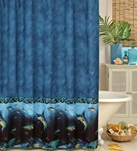 Coral reef fish shower curtain and matching for Fish curtains for windows