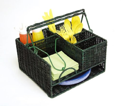 Green Wicker Picnic Organizer Basket With Handle