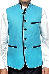 Adam In Style Cyan Jute Jacket For Men (Size: 48)