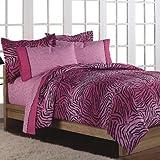 Girls Teen Hot Pink Wild Zebra 5 Piece Twin Comforter Set