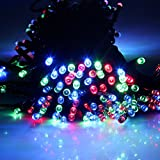 Multi-Colur 17m 55ft 100 LED Solar Powered String Light Holiday Fairy Lights for Outdoor Gardens, Homes, Christmas, Partys, Weddings, Xmas, Easter, Festivals (Rgb)