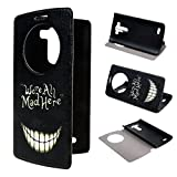 LG G3 Case ivencase View Window Painting Art Smile Face Style Design PU Leather Flip Stand Case Cover For LG G3