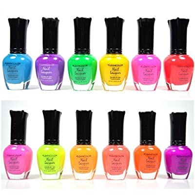 KLEANCOLOR NEON COLORS 12 FULL COLLETION SET NAIL POLISH LACQUER + FREE EARRING by Kleancolor