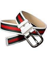 1PCS Fashion White Green Red Stripe Canvas Pin Buckle Belt Waistband