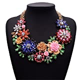Girl Era Womens Acrylic 3D Crystal Flowers Big Costume Jewelry Chain Charm Necklace