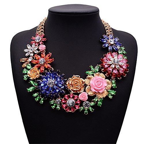 Girl Era Womens Acrylic 3D Crystal Flowers Big