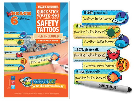 Quick Stick Write-on! Child ID Tattoos NEW (Beach 6pk.) - 1