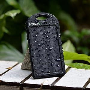 Borch Solar Panel Portable Power Bank, 5000mAh, Black