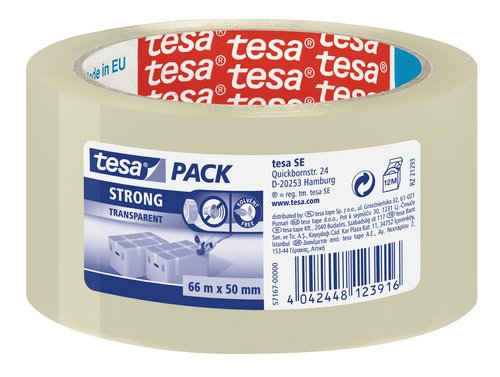 tesa-57167-clear-strong-packaging-tape-tower-of-6-rolls-50-mm-x-66-m-pack-of-6