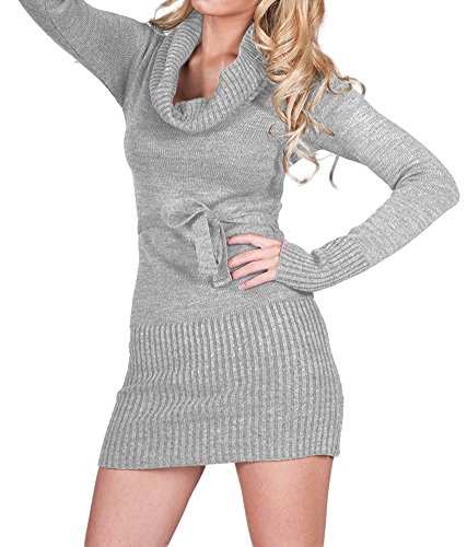 Glamour Empire. Donna Vestito Mini Tunica in Maglia Top Collo Alto Cintura. 358 (Grigio Melange, ONE SIZE IT 40/42/44, )