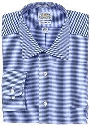Eagle Mens Regular Fit Non Iron Gingham Dress Shirt, Atlantic, 17/34-35