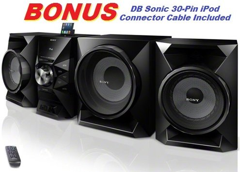 Sony 700 Watt Ultimate Hi-Fi Stereo Sound System With Mp3 Cd Player, Am & Fm Radio, 30 Preset Stations, Remote Control, Digital Time Display, Alarm Clock, Sleep Timer, Child Lock, 8 Band Equalizer, Bass Boost, Powerful 230 Watt Subwoofer, 2-Way Bass Refle