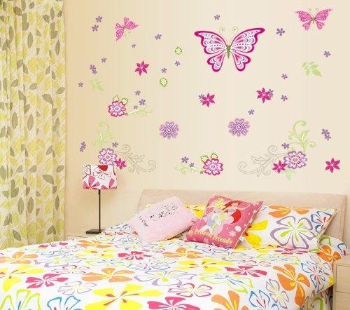 Createforlife Home Decor Vinyl Wall Sticker Butterfly Princess Kids Room Decal Art Mural Wallpaper