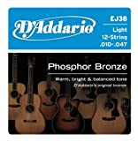 Apparel & Shoes Online Shop Ranking 26. D'Addario EJ38 12-String Phosphor Bronze Acoustic Guitar Strings, Light, 10-47
