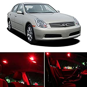infiniti g35 sedan 2003 2006 red premium led interior lights package kit 9 pieces. Black Bedroom Furniture Sets. Home Design Ideas