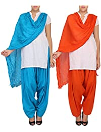 Womens Cottage Women's Combo Pack Of 2 Pure Solid Cotton Semi Patiala Salwar & Cotton Dupatta Stole With Lace