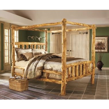 Cabela 39 s deluxe aspen log canopy bed log cabin bedroom furniture 2018 - Log bedroom furniture ...