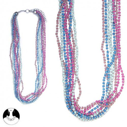 sg paris women necklace necklace 50 cm 8 rows multicolor glass