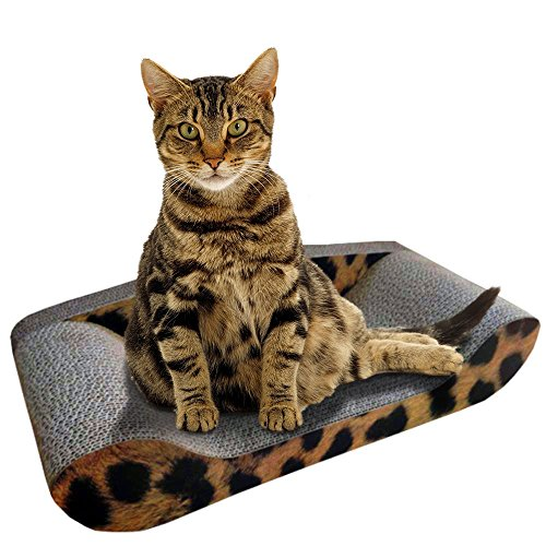 Kitty Sofa Deluxe – The Best Modern Corrugated Cardboard Lounger Bed Cat Scratcher – The Perfect High Quality Scratching Mat – Protect Your Couch By Giving Your Pet Their Own Designer Sofa – 100% Satisfaction Money Back Guarantee