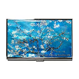Van Gogh Almond Blossom Business Credit Card Case Id Holder Metal Travel Wallet Mother of Pearl