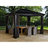 ELLINGTON 10'x12' - Charcoal (#77) Hard Top Sun Shelter, Aluminum Structure, 8mm Polycarbonate Roof, 2 Tracks, Mosquito Netting Included
