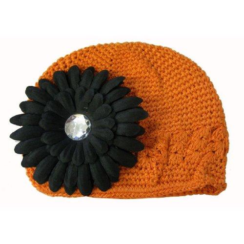 Orange Halloween Baby Kufi Beanie Skull Cap Hat With Black Flower - Halloween Baby Kufi Hat In Orange With Black Daisy Flower front-701111