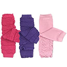 Bowbear Baby 3-Pair Leg Warmers, Ruched Pink and Purple