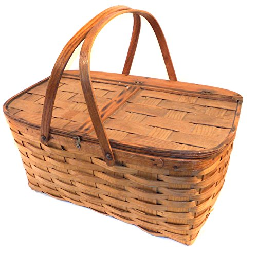Great Old Vintage Primitive Oak Woven Oak Splint Picnic Basket 2