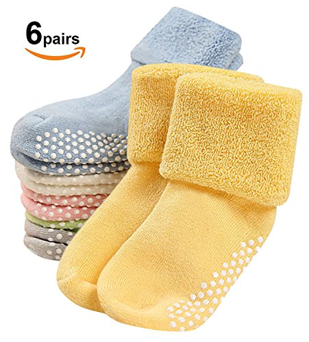 Baby Socks,Mossio 6 Pair Girl Boy Socks Non Skid Unisex Toddler Socks with Grips