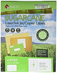 MACO Sugarcane Laser/Ink Jet/Copier White Name Badge Labels, 2-1/3 x 3-3/8 Inches, 8 Per Sheet, 400 Per Box (SL-7000)